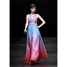 A-line V-neck Floor-length Satin Elastic Silk-like Satin Evening Dress