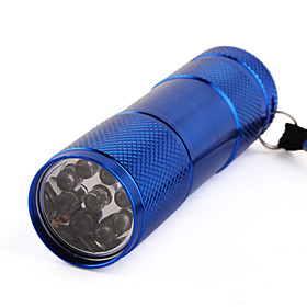 One Mode 9 LED Stainlee Steel Flashlight Blue