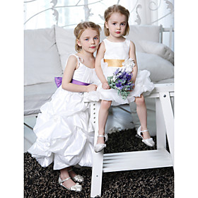 A-line Spaghetti Straps Floor-length Taffeta Flower Girl Dress