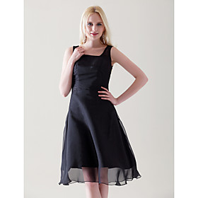 A-line Straps Knee-length Chiffon Satin Cocktail Dress