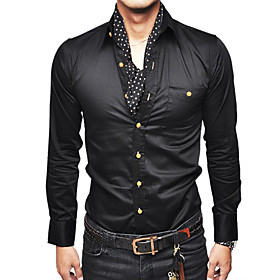 Mens Slim Fit Fashion Shirt with Golden Button Long Sleeve Black and Blue