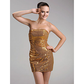Sheath / Column Strapless Short / Mini Sequined Cocktail Dress(FMSM04128)