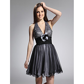 A-line Halter Short/ Mini Tulle Taffeta Cocktail Dress (FSF1108020)
