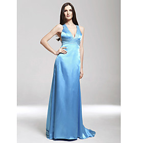 Sheath/ Column V-neck Sweep/ Brush Train Elastic Woven Satin Evening Dress (HSX338)