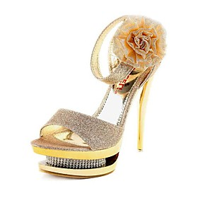 Sparkling Glitter Upper Stiletto Heel Pumps/ Sandals With Rhinestone Wedding/ Party Shoes