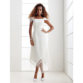 Sheath/ Column Off-the-shoulder Ankle-length Wedding Dress