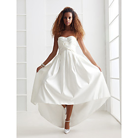 A-line/ Princess Sweetheart Asymmetrical Satin Wedding Dress