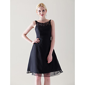 A-line Scoop Knee-length Chiffon Satin Cocktail Dress