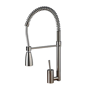 Solid Brass Spring Kitchen Faucet - Nickel Brushed Finish