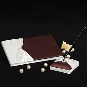 Elegant Cream and Chocolate Wedding Guestbook and Pen Set