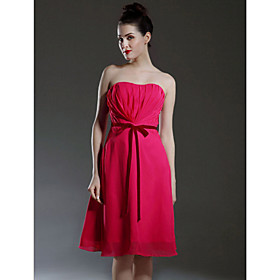 2010 Style  A-line Sweetheart  Knee-length  Sleeveless Chiffon Bridesmaid Dress (FSM0680)