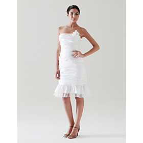 Sheath/ Column Strapless Knee-length Taffeta Wedding Dress