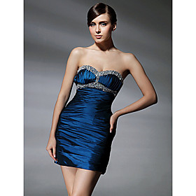 Sheath/ Column Sweetheart Short/ Mini Beaded Taffeta Cocktail Dress bachelorette party dress