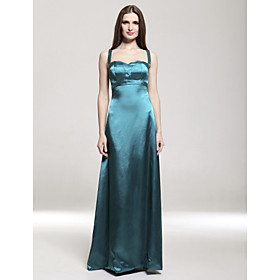 Empire Spaghetti Straps Floor-length Elastic Satin Bridesmaid/ Wedding Party Dress (FSH0503)
