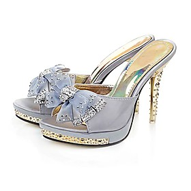 Cloth Upper Stiletto Heel Slipper With Rhinestone Party/ Evening Shoes.More Colors Available