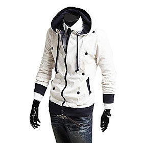 Stylish Slim Fit Fleeces Mens Hooded Jacket 2 Row Buttons Long Sleeve