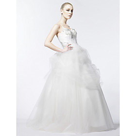 Ball Gown Spaghetti Straps Court Train Tulle Taffeta Wedding Dress