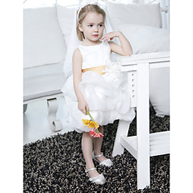 Ball Gown Bateau Knee-length Organza Satin Flower Girl Dress