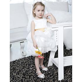 Ball Gown Bateau Knee-length Organza Satin Flower Girl Dress