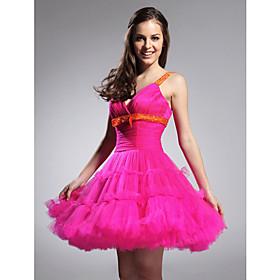 A-line Straps Sweetheart Short/ Mini Tulle Taffeta Cocktail Dress