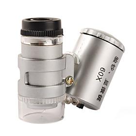 Mini 60X Microscope with 2-LED Illumination  Currency Detecting UV Light (3 LR1130)