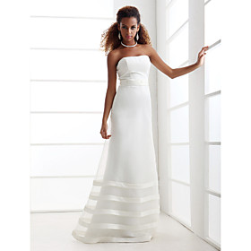 A-line Strapless Floor-length Satin Organza Wedding Dress