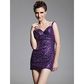 Sheath/ Column V-neck  Short/ Mini  Sleeveless Sequined Fabric Cocktail Dresses(WSM04192)