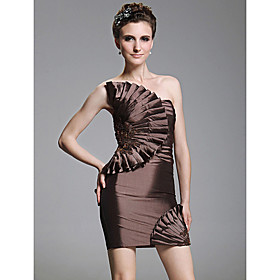 Sheath/ Column Strapless Short/ Mini Taffeta Cocktail Dress With Appliques bachelorette party dress