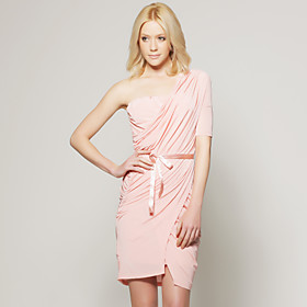 TS Pink One Shoulder Gathered Belted Dress Inspired by Runway Style