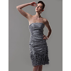 2009 Stytle Column Strapless Knee-length Taffeta Cocktail Dress(HSX254)