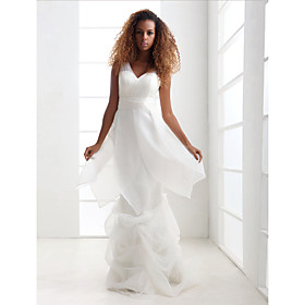 Sheath/ Column V-neck Floor-length Tulle Organza Satin Wedding Dress