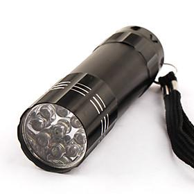 One Mode 9 LED Stainlee Steel Flashlight Black