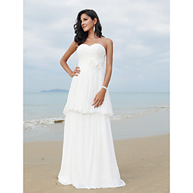 A-line Sweetheart Sweep/ Brush Train Chiffon Wedding Dress
