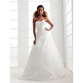 A-line/ Princess Sweetheart Court Train Organza Wedding Dress