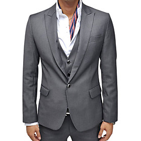 Men Black and Gray Slim Fit Sexy One Button Suit Coat