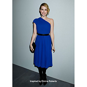 Chiffon Sheath/ Column One Shoulder Tea-length Cocktail Dress inspired by Emma Roberts