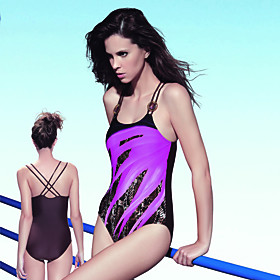 Two Straps Stripe Firm Control Push-up Top One-piece/ Monkini Swimwear