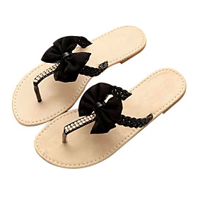wholesale Leatherette Upper Flat Heel Flip Flops With Bowknot Casual/ Honeymoon Shoes(0987-FANSS F4-7)
