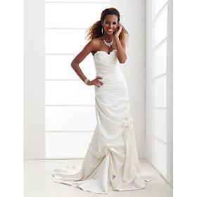 Trumpet/ Mermaid Strapless Sweetheart Court Train Satin Wedding Dress