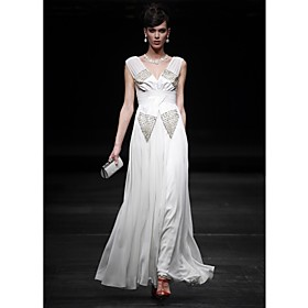 Sheath/ Column V-neck Floor-length Chiffon Satin Elastic Silk-like Satin Evening Dress