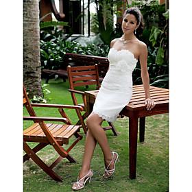 Sheath/ Column Sweetheart Short/ Mini Lace Weddding Dress