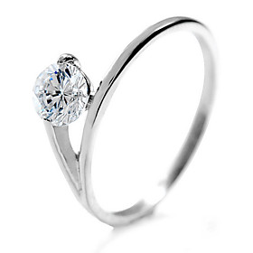Shining Round CZ Cubic Zirconia And Stainless Steel Ring