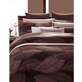 Cotton Printed Satin Leaf 3-piece Queen Duvet Cover Set