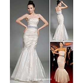 Trumpet/ Mermaid Strapless Floor-length Sleeveless Organza/ Satin Beading Grammy Dress (FSH0615)