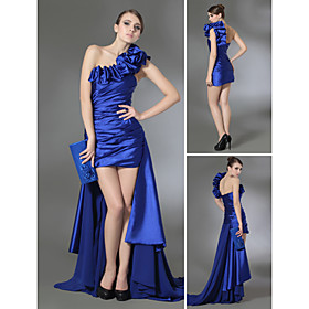 Sheath/ Column One Shoulder Short/ Mini Chiffon Elastic Satin Cocktail Dress with Removable Train