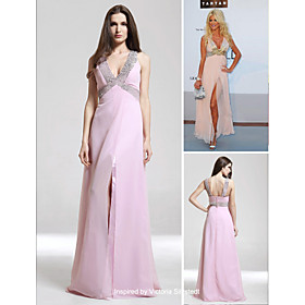 Victoria Silvstedt A-line V-neck Floor-length Sleeveless Chiffon/ Elastic Satin Cannes Film Festival/ Evening Dress (FGY0839)