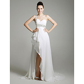Chiffon Column One Shoulder Sweep Train Evening Dress inspired by Sandrine Bonnaire at Venice Film Festival