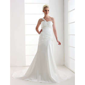 Sheath/ Column One Shoulder Court Train Satin Wedding Dress