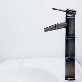 Antique Bronze Waterfall Bathroom Sink Faucet (Bamboo Shape Design)