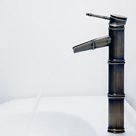 Antique Bronze Waterfall Bathroom Sink Faucet (Bamboo Shape Design)